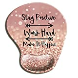 HOPONY Mouse Pad, Ergonomic Mouse Pad with Gel Wrist Rest Support, Gaming Mouse Pad with Lycra Cloth, Non-Slip PU Base for Computer, Laptop, Home, Office & Travel Hands Pain Relief Rose Gold