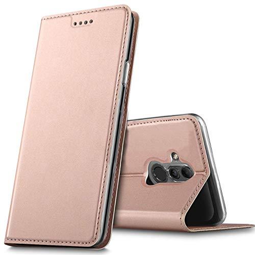 Verco Handyhülle für Mate 20 Lite, Premium Handy Flip Cover für Huawei Mate 20 Lite Hülle [integr. Magnet] Book Hülle PU Leder Tasche, Rosegold