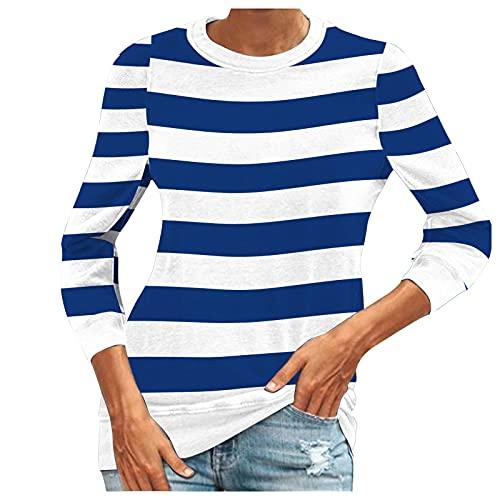 Bluas de Mujer Manga Larga Blusas Camisa Algodón Cuello Redondo Basica Raya Blusa Mujer Elegante Larga Camisa Suelta Mujer Casual Suelto Verano Invierno Primavera T-Shirts Tops