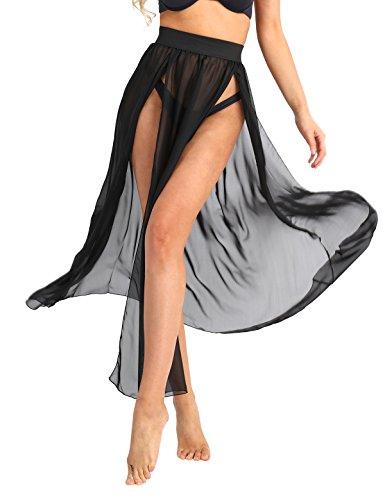 TiaoBug Damen Strandkleid Bikini Cover up Sommer Bikini Kleid Damen Pareos & Strandkleider Durchsichtig Chiffon Strandrock lang mit Schlitz Schwarz S