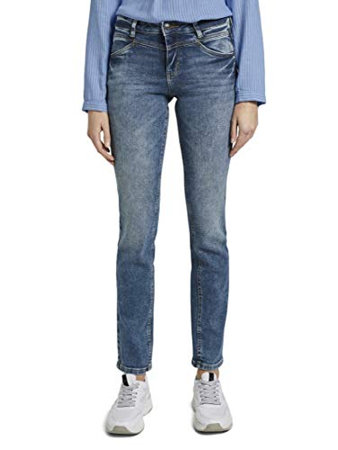 TOM TAILOR Damen Jeanshosen Alexa Straight Jeans mid Stone wash Denim,29/30