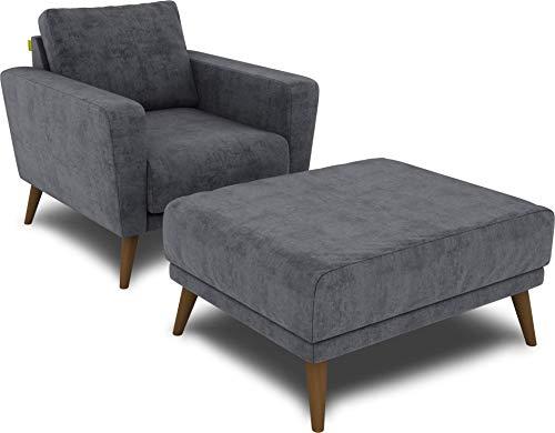 KAUTSCH Lotta Hochwertiges Set Sessel inklusive Hocker in grau blau - Polsterstuhl mit Fußhocker - Armlehnen-Stuhl und Sitzhocker - Relax-Sessel gepolstert für Wohnzimmer