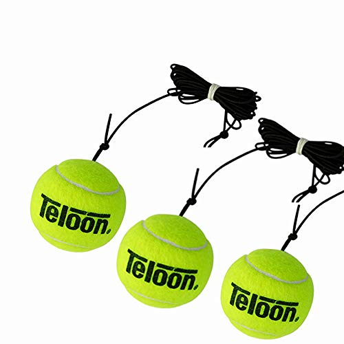 Teloon Portable Tennis Trainer 2.05LB Weight Heavy Iron Base Tennis Training Tool Exercise Tenis Ball Sports Self-Study Rebound Ball Baseboard Sparring Device (One Set)? (Nur 3 Bälle)