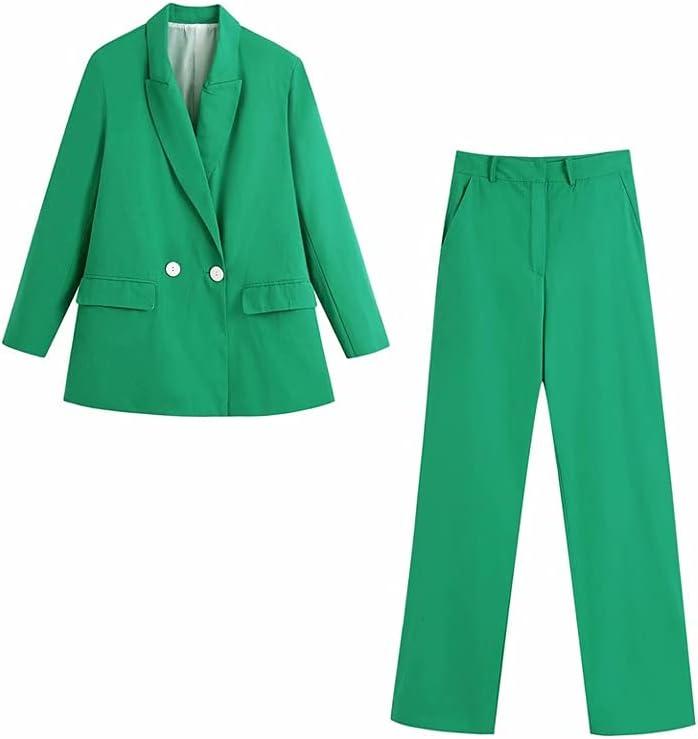JJWC Women Casual Green Loose Blazer Sets Long Pants Suits Ladies Oversized Streetwear Suit (Color : C, Size : M Code)