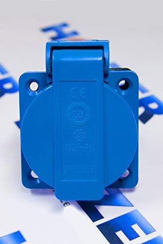 HOLZER 8 Stück Einbausteckdosen Schuko Steckdose 16A mit IP54 / + Flansch Dichtung (Blau)