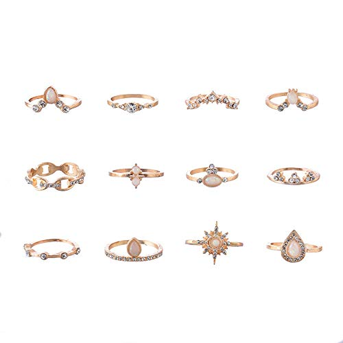 HINK European and American Personality Joint Ring Imitation Opal Rhinestone Ring Rings Jewelry & Watches For Woman Valentine Easter Gift