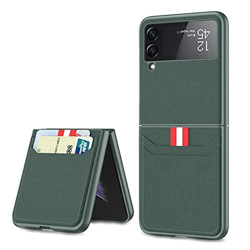 SHIEID Ledertasche für Samsung Galaxy Z Flip 3 5G, Z Flip 3 Hülle mit Kartenetui Lederbrieftasche Schutzhülle, Klappbildschirm Handyhülle für Samsung Z Flip 3 5G-Smaragdgrün