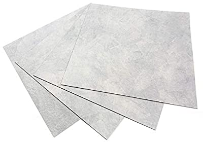 ROSEROSA Peel and Stick Square Vinyl Tiles Marble Carpet Stone Concrete Pattern Floor Tiles Self Adhesive : 15.74 inch X 15.74 inch, Thickness 2.0mm