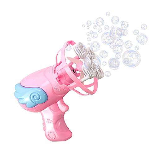 GUBOOM Máquina de Burbujas, Pistola Pompas de Jabón para niños por Batería, Portátil Automática Soplador de Burbujas con 2 Botellas de Burbujas para Niños Regalo, Fiestas, Interiores o Exteriores