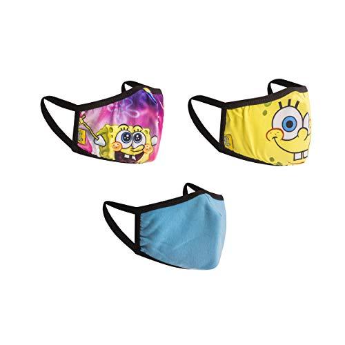 Spongebob Face Masks for Kids Set, 3-Pack, Reusable & Washable Cloth Kids' Face Masks (Happy Face)
