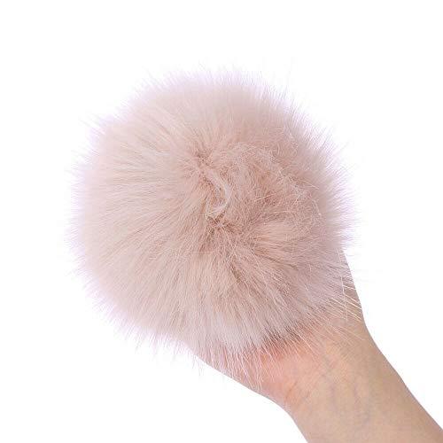 TUWAN Faux Fur Pom Pom Balls Fur Fluffy Pom Pom Ball with Elastic Loop for Hats Shoes Scarves Gloves Scarves Bag Accessories(Khaki)