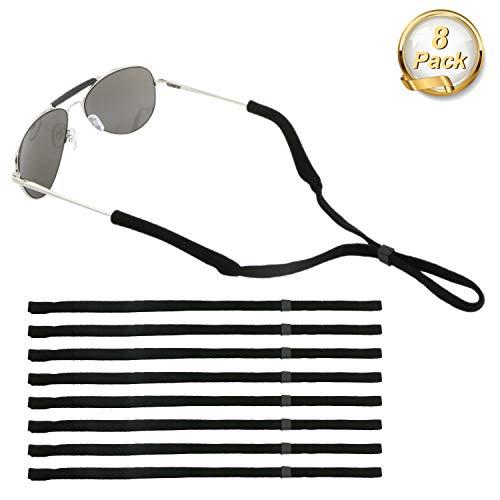 Emooqi Eyewear Strap Brillenbänder, Einstellbarer Brille Cord Brillenband Sunglasses Retainer Anti-Rutsch Sport-Sonnenbrille Halter-Bügel Eyewear Retainer- Schwarz 8 Stück