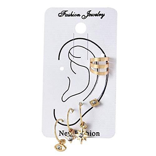 WOIA Pendiente de Ojo para Mujer Pendientes de botón Set Piercing Falso Pendiente de Estrella Moda, Oro