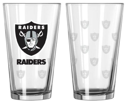 Boelter Brands Oakland Raiders Satin Etch Pint Glass Set