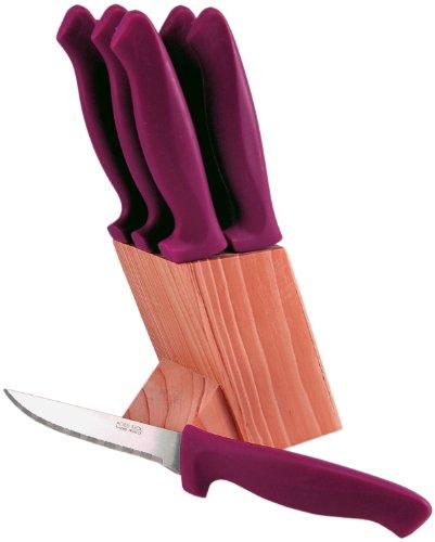 Tarrerias Bonjean 430274 Chef de France, Ceppo in Legno Naturale Inclinato con 6 coltelli da Carne, in Acciaio Inox