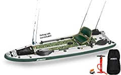 """Exterior: 12'6"""" x 40"""" x 6"""" / Deflated: 45"""" x 15"""" x 10"""" / Board Thickness: 6"""" Hull Weight: 45 lbs. (hull only), 48 lbs. (w/ motor mount). Capacity: 2 Person or 500 lbs. Material: 1000 Denier Reinforced Drop Stitch / Seam: Quadruple Overlap / Air Valve..."""