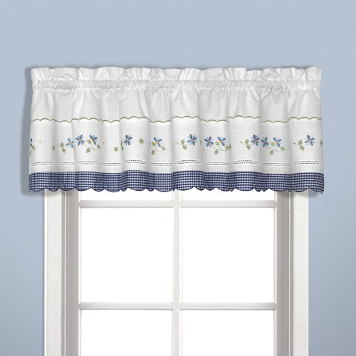 United Curtain Gingham Embroidered Valance, 60 by 14-Inch, Blue