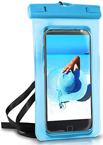 OneFlow® wasserdichte Handy-Hülle für Motorola & Lenovo | Touch- und Kamera-Fenster + Armband & Schlaufe zum Umhängen, Blau (Aqua-Blue)