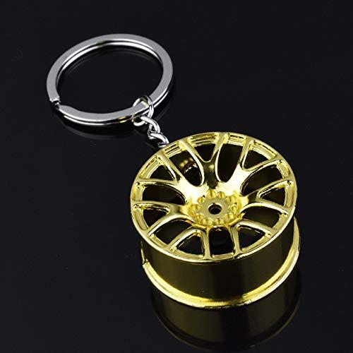 NLLeZ 1pc Luxury Wheel Hub Llavero Aleación de zinc Alloy Neumático Estilizador Coche Anillo de llaves de Coche Piezas de modificación automática Titular de la llave para FO-RD AU-ACEPTORIOS