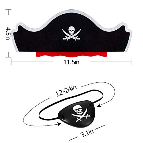 24 Pcs Skull Print Pirate Hats Eye Patches Set, 12 Pieces Caribbean Pirate Captain Hat& 12 Pieces Black Pirate Eye Mask for Pirate Party, Cosplay, Dress Up Theme Party, Halloween Decorations