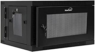 NavePoint 6U Wall Mount Hinged Swing Out Perforated IT Server Network Rack Cabinet Lock
