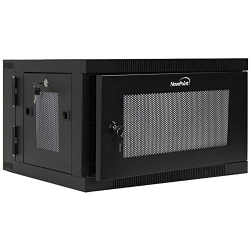 NavePoint 6U Wall-Mount Network Cabinet Enclosure, 450mm Depth, Hinged Back, Swing Gate Server Cabinet, Locks, Pre-Assembled, Perforated Front Door, 1 x L Brackets, Cable Management