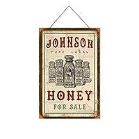 ジョンソンハニーの販売木製のリストプラーク木の看板ぶら下げ木製絵画パーソナライズされた広告ヴィンテージウォールサイン装飾ポスターアートサイン