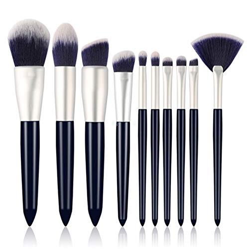 Conjunto de cepillos de maquillaje 10 PCS de alta calidad azul natural sintético sintético maquillaje kit de herramientas de cepillo pinceles de maquillaje profesional maquillaje brochas