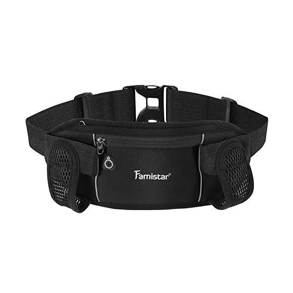 Famistar Hydration Running Belt Running Fanny Waist Pack with Adjustable Straps, Large Pocket Waist Bag Phone Holder for Hiking Travel Joggingg Fits 6.5 inches Smartphones