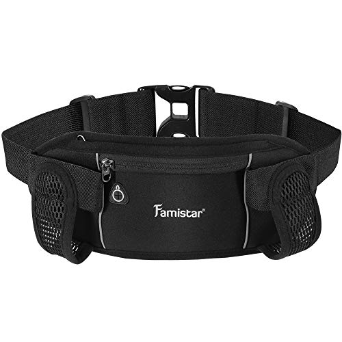 Famistar Hydration Running Belt Running Fanny Waist Pack with Adjustable Straps, Large Pocket Waist Bag Phone Holder for Hiking Travel Joggingg Fits 6.5 inches Smartphones