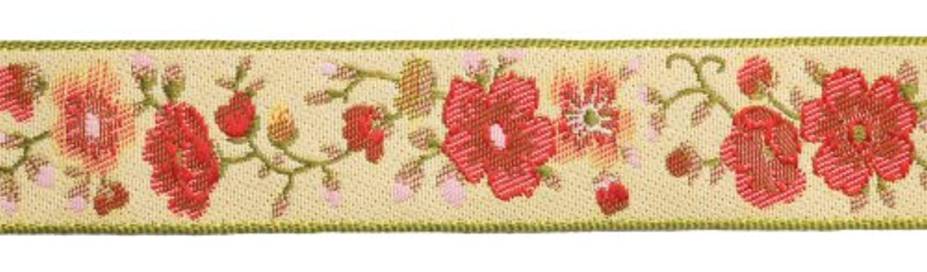 Dove of the East Rosa Red Brocade Ribbon for Scrapbooking, 1-Yard