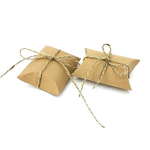 JZK 50 Cajas Vintage Kraft marrón Envolver Cajas de Dulces de Regalo para Boda cumpleaños Baby Shower Navidad Bautizo graduación Fiesta