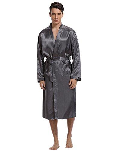Aibrou Herren Sommer Morgenmantel leicht Bademantel Lang Satin Nachtwäsche Kimono mit Gürtel Sleepwear V Ausschnitt Robe Pajama Party Alltag (Grau, Medium)