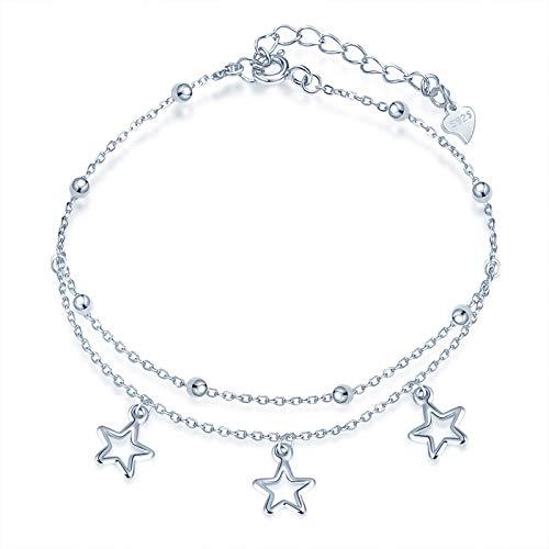 Yumilok - Cavigliera in argento 925, con catena multifilo, regolabile, gioiello per Natale e compleanno