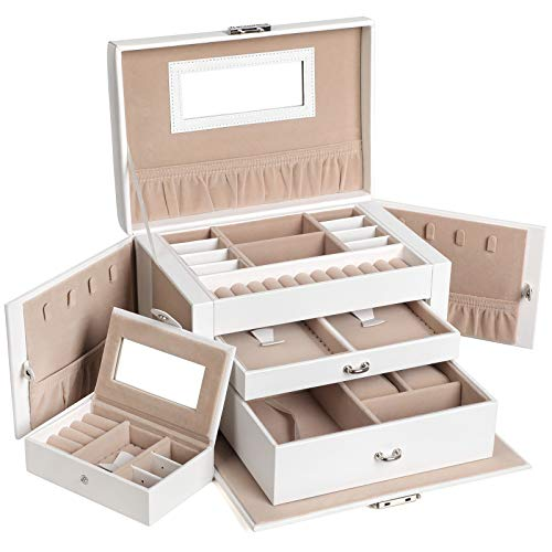 SONGMICS Jewelry Box for Women, Jewelry Organizer with 2 Drawers, Lockable Jewelry Case with Mirror, Portable Travel Case, for Rings, Earrings,...