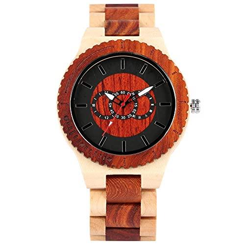 HYLX Reloj de Pulsera de Madera de Cuarzo de Moda para Dama, Esfera roja Negra clásica con Reloj de punteros Luminosos para Hombres, Relojes de Cierre Plegable Estable para Mujeres