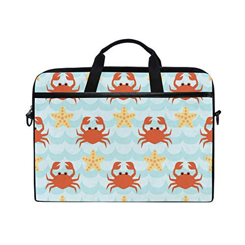 Laptop Sleeve Case,Laptop Bag,Ocean Crab Starfish Pattern Water Briefcase Messenger Notebook Computer Bag with Shoulder Strap Handle,29×40 CM/15.6 Inch