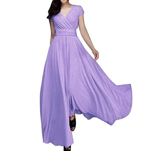 Vestidos De Mujer con Gasa En Elegante Cuello V Mode De Marca Vestido De Noche Fiesta Vestido Largo Sin Mangas Vestido De Verano (Color : Lila-1, Size : S)