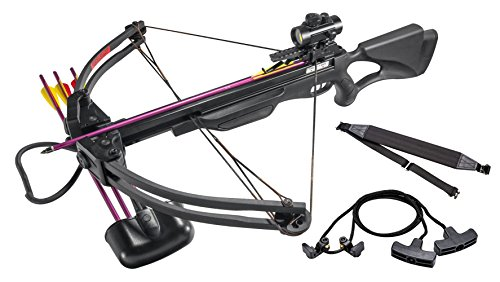 Leader Accessories Crossbow Package 175lbs 285fps Archery Equipment Hunting Bow with Quiver and 4pcs of Aluminum Arrow, Black