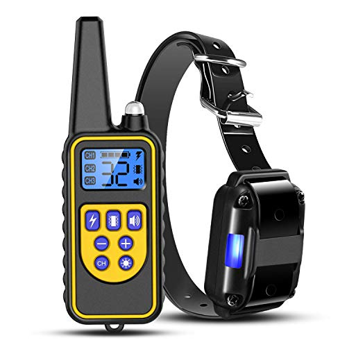 iMounTEK Shock Collar for Dogs, Bark Collar with Remote, 2020 Dog Training Collar w/3 Modes, Up to 2600Ft Remote Range, 0~99 Shock Levels, 3 Channels, for Small Medium Large Dog (Collar with Remote)