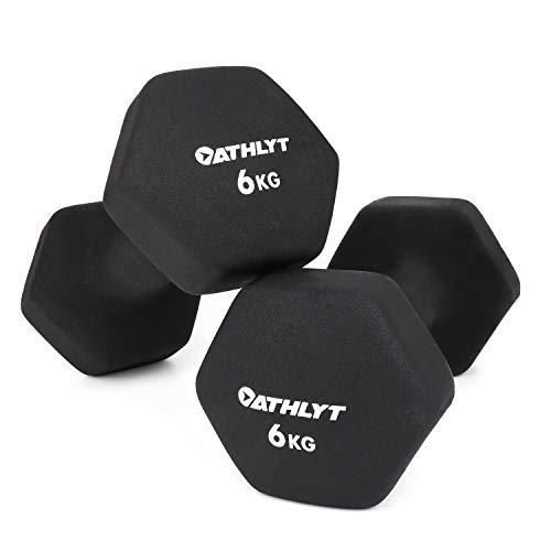 Athlyt Neopren-Dip-Hantel Set, 2 x 6 kg, Schwarz