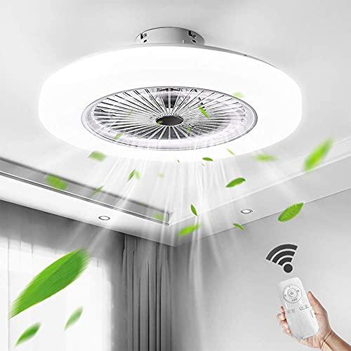 Aohuada LED ventilador luz de techo dormitorio control remoto 36W regulable 58CM + silencioso 2880 lúmenes moderno con Smart Invisible