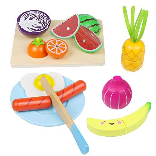 yoptote Giocattolo Legno Magnetico Taglio Frutta e Ortaggio Alimenti Gioco di Ruolo Piccolo Cuoco Gioco Educativo d'Apprendimento Accessori Cucina Regalo Perfetto per Bambini 3+ Anni (23 Pezzi)