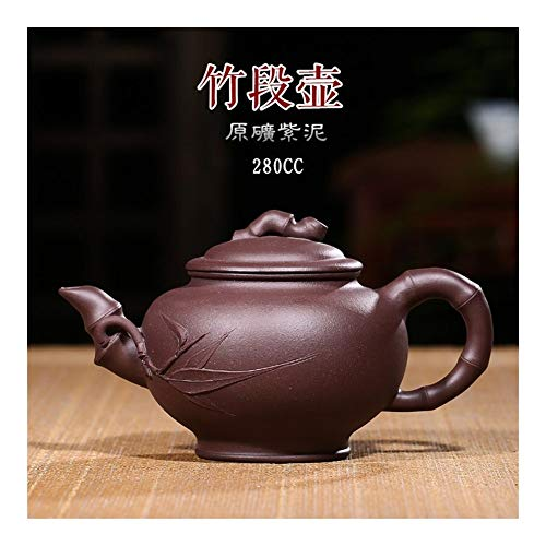 LEBAO Purple Clay Ceramica Te Taza Teteras Teteras Set Tetera Ore Tetera De Arcilla Púrpura A Mano De Bambú Sección Tetera De Té (Color : Red)