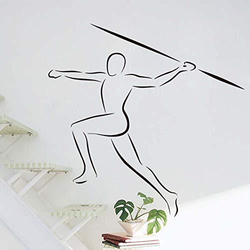 BailongXiao Sport Wandtattoo Sport Spieler Umriss Vinyl Home Art Dekoration abnehmbare Wohnzimmer Speer Innenarchitektur Wandaufkleber