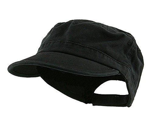 Wholesale Enzyme Washed Cotton Army Cadet Castro Hats Black 20766 One Size Black One Size