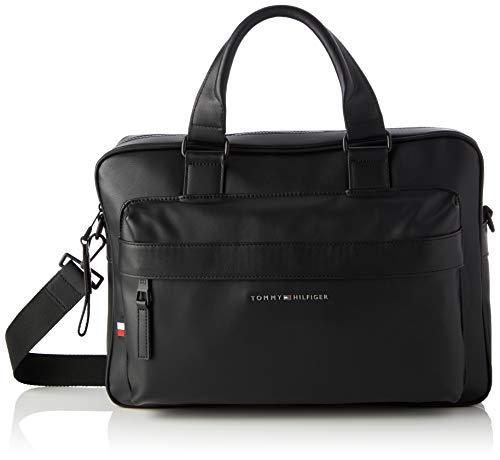 Tommy Hilfiger Men's ELEVATED PU COMPUTER BAG, Black, One Size