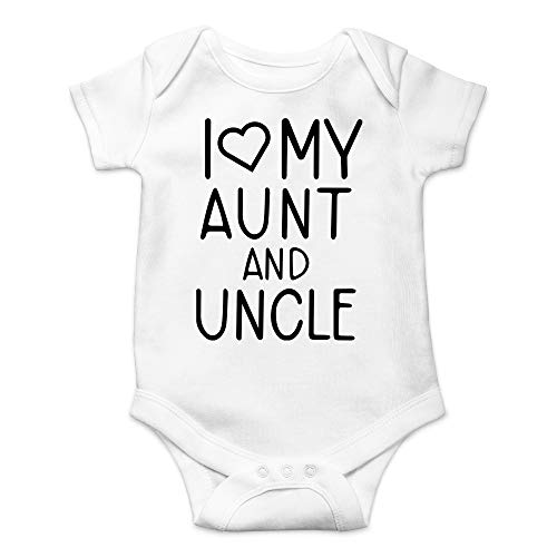 I Love My Aunt and Uncle - Gifts for Nieces and Nephews - Cute Infant One-Piece Baby Bodysuit (Newborn, White)