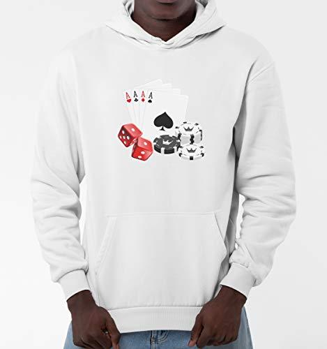 TeezoneDesign - Felpe con cappuccio da uomo, amanti del poker, carte di gioco, design alla moda, linea di abbigliamento bianco L