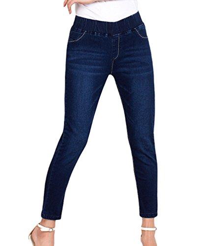 YuanDian Donna Autunno Casual Taglie Forti 7/8 Lunghezza Elasticizzati Jeans alla Caviglia Slim Fit Skinny Stretch Jeans con Elastico in Vita Denim Pantaloni Blu Scuro 40
